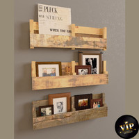 shelves wood 3d obj