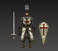Templar Knight Character Low Poly