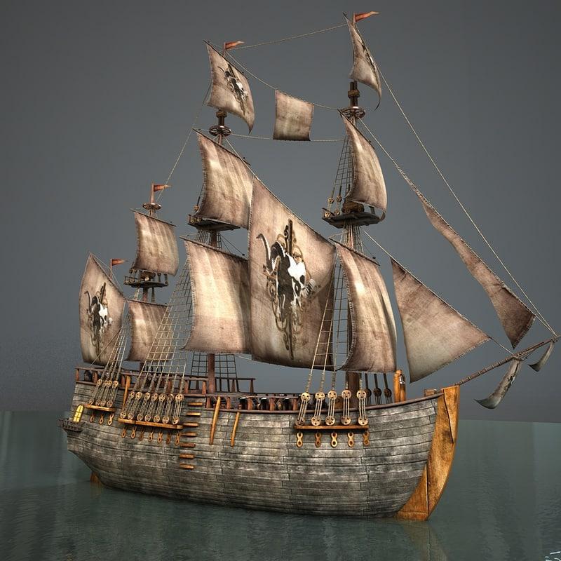 pirate sailboat 3d c4d