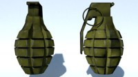 MK2 fragmentation grenade low poly