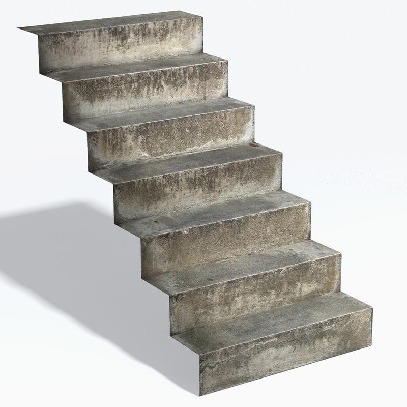 3d model rustic concrete steps
