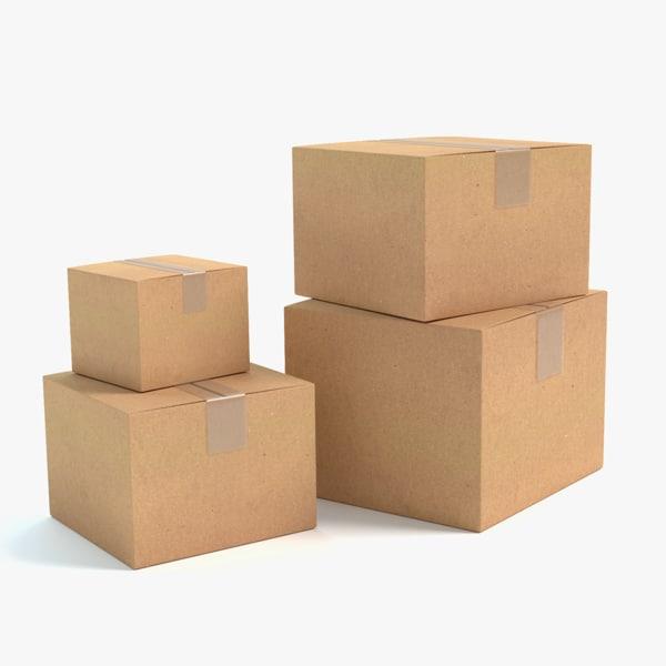 3d model cardboard boxes