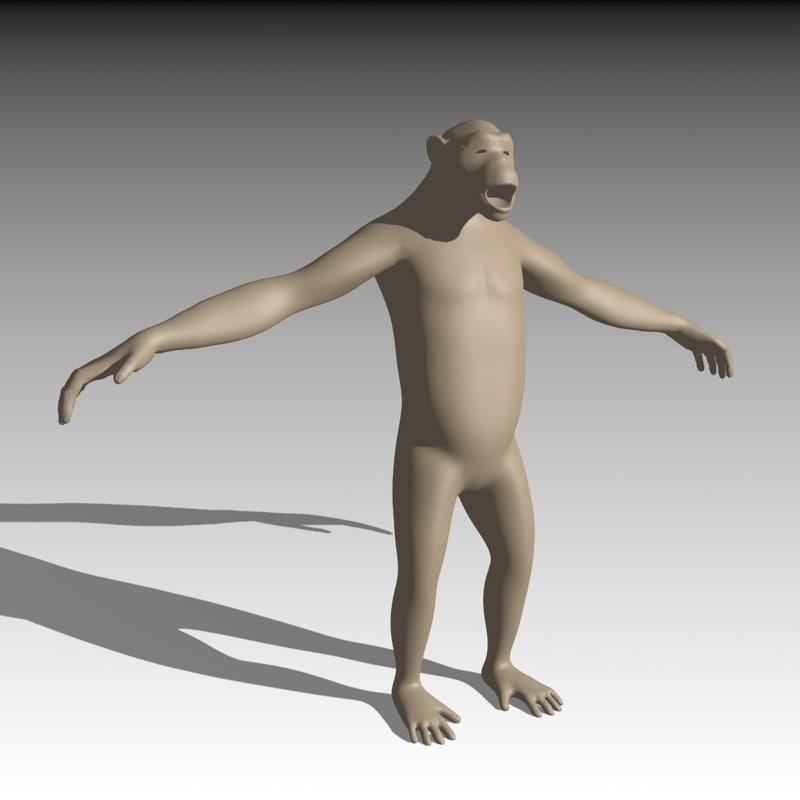 3d model base chimpanzee mesh