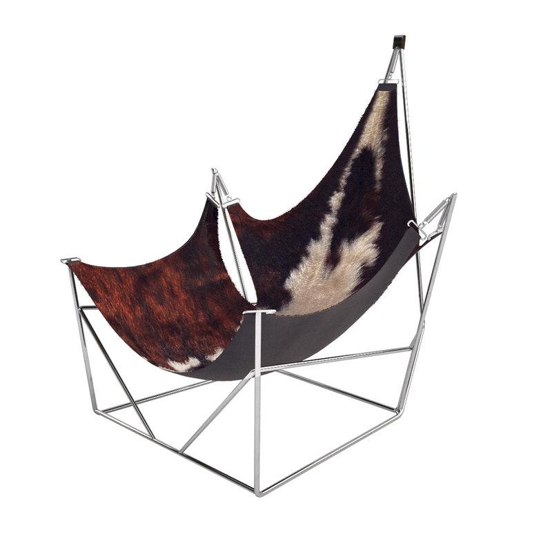 sculptural lounge chair cowskin 3d model
