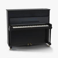 Upright Piano Black 3D Model