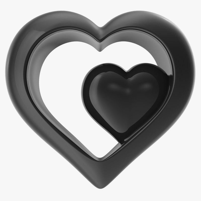 3d model heart black