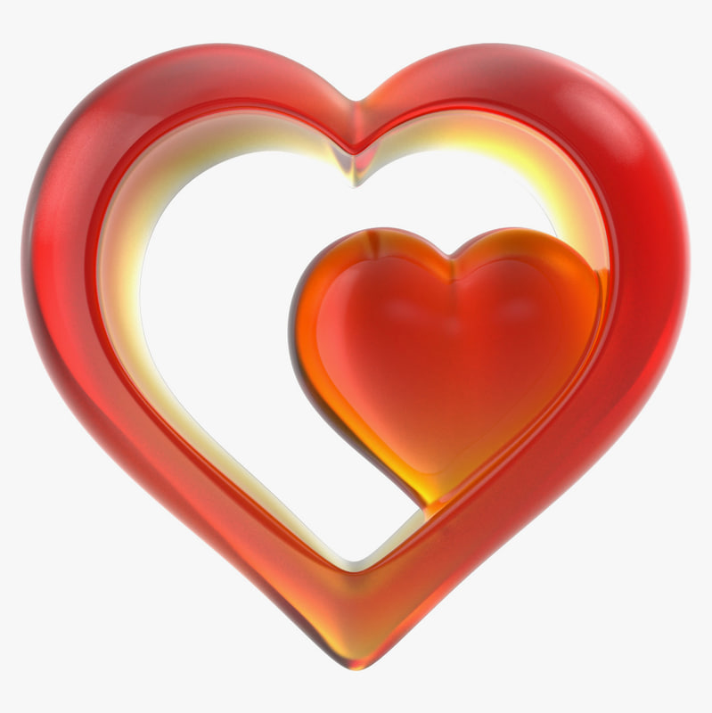 3d model heart glass red