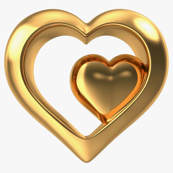 heart gold 3d model
