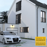 semi detached house 3d model
