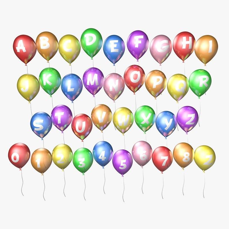 lettered balloons 3d obj