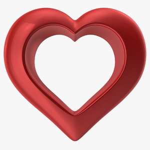 heart shiny red v2 3d model
