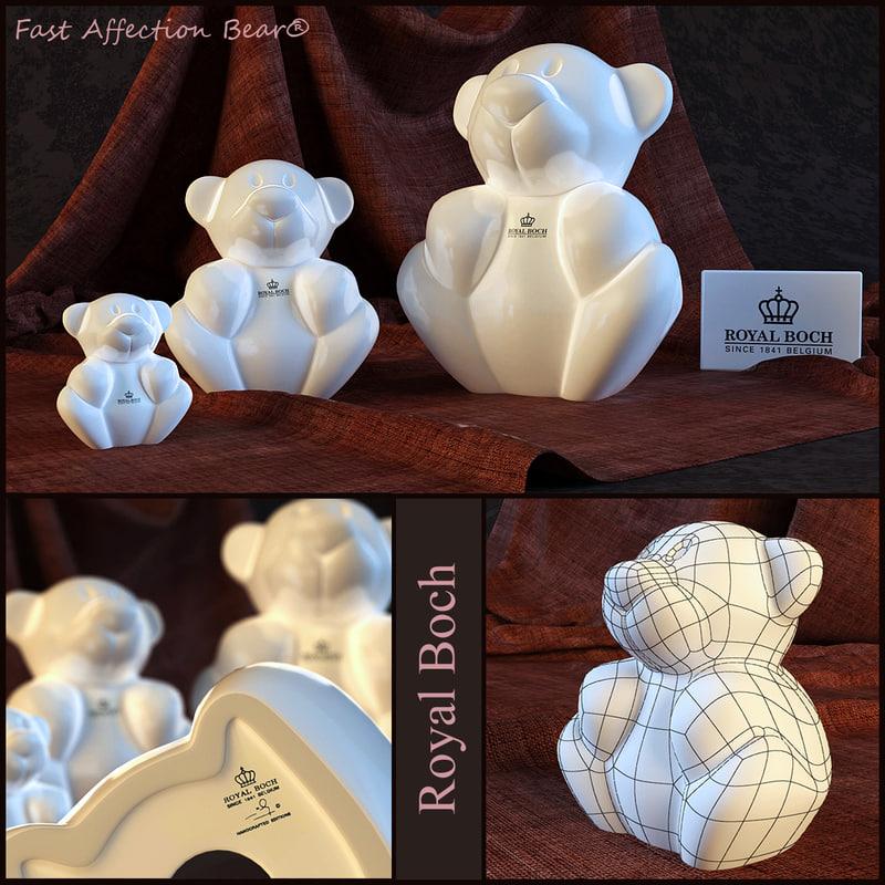 3d porcelain bear fast affection model