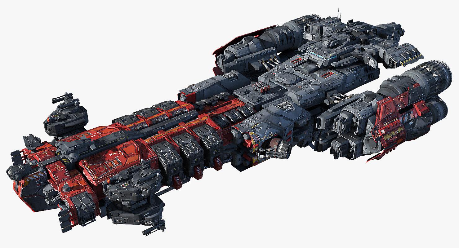 3d heavy frigate scifi
