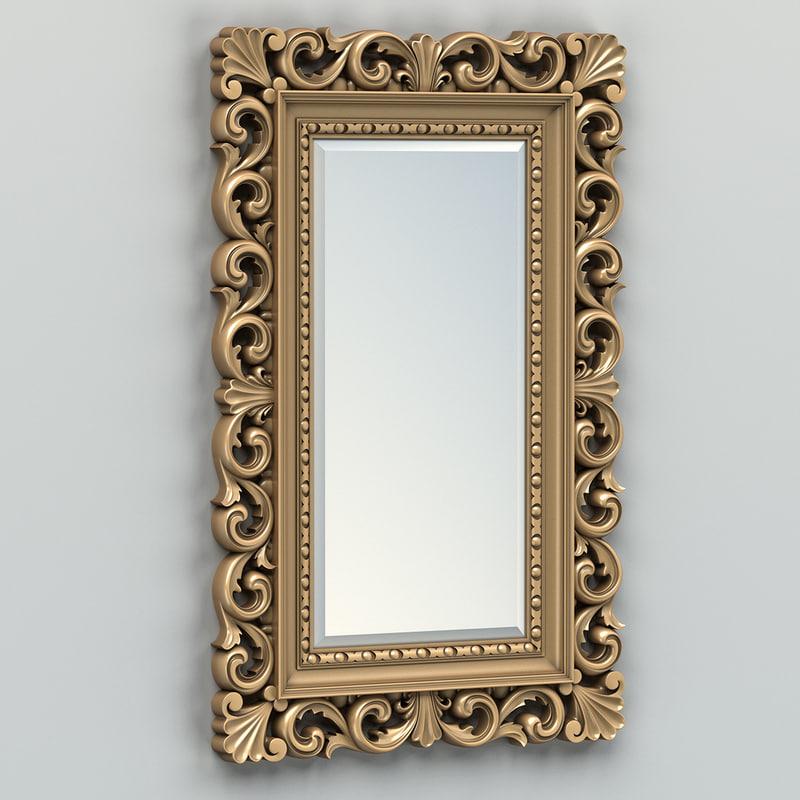 3d carved rectangle mirror frame model