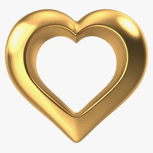 3d model heart gold v2