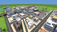 cartoon city downtown 3d obj