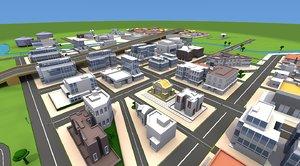 cartoon city downtown 3d obj