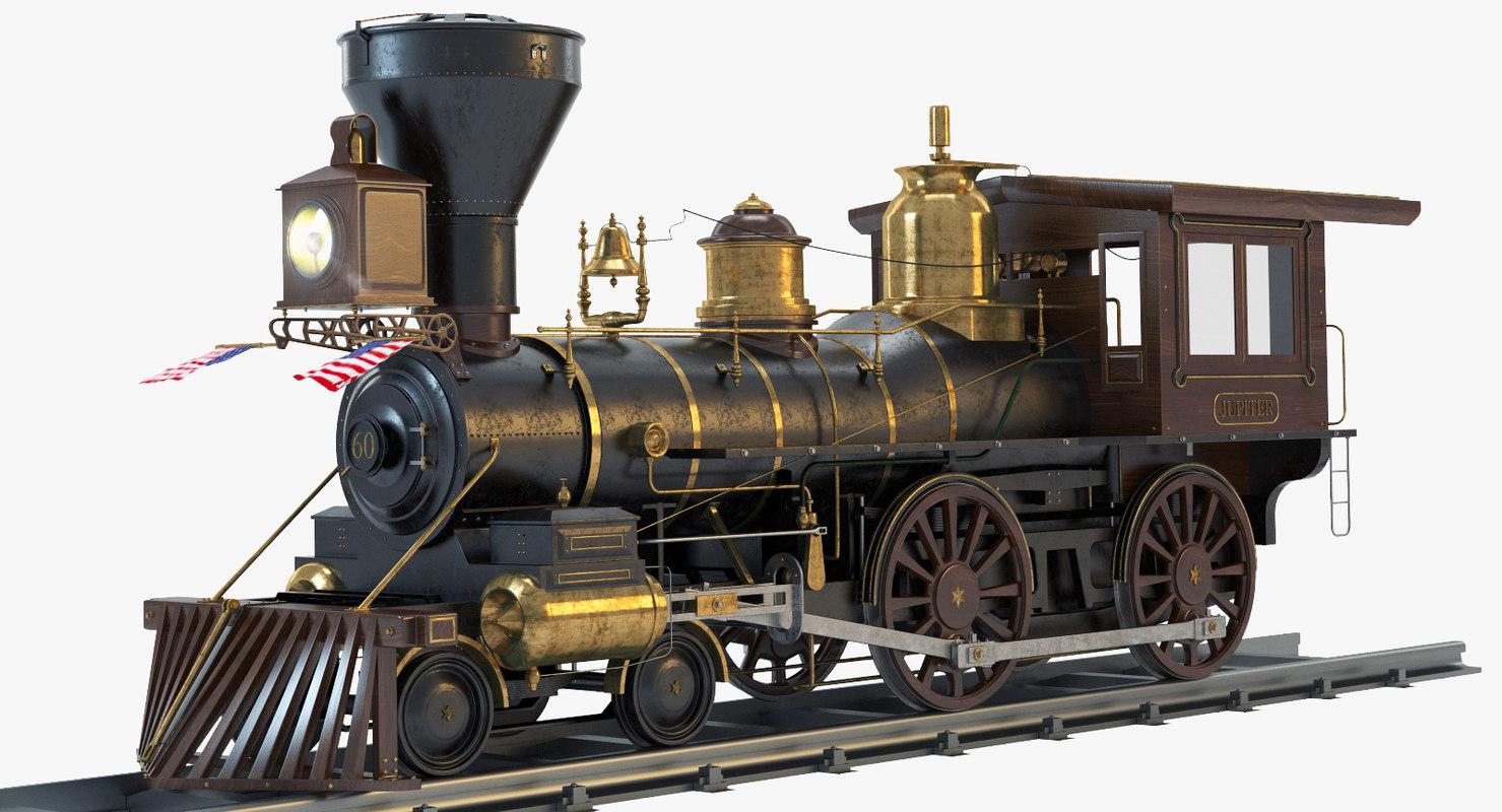3d model jupiter steam locomotive engines