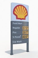 3d model of shell gas station totem