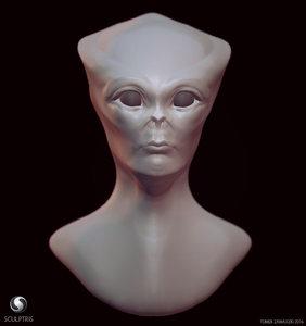 obj sculpt alien head