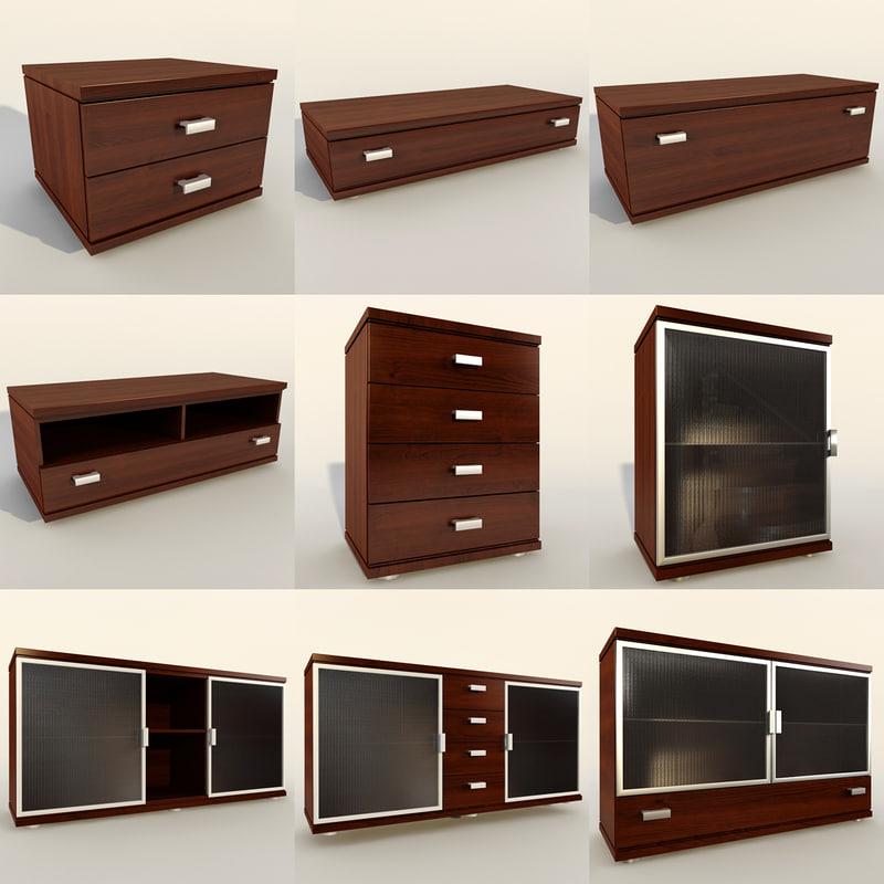 wood modern nightstand tv stand 3d model