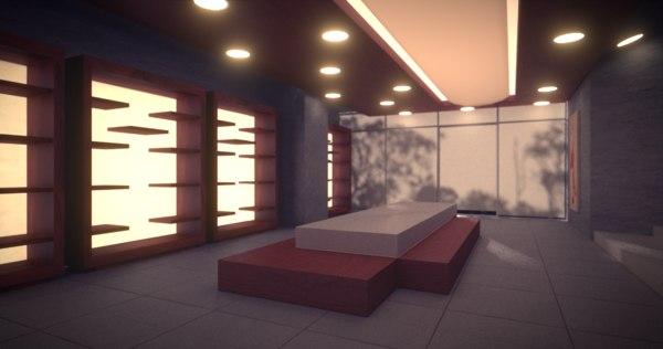 modern store showroom 3ds