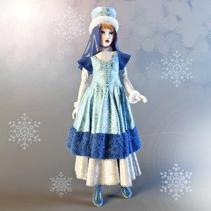 3d model dolls snow maiden