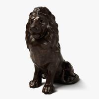 3d model bronze lion statue