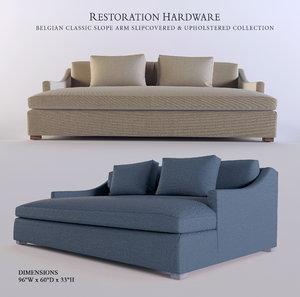 3d model sofa belgian classic slope