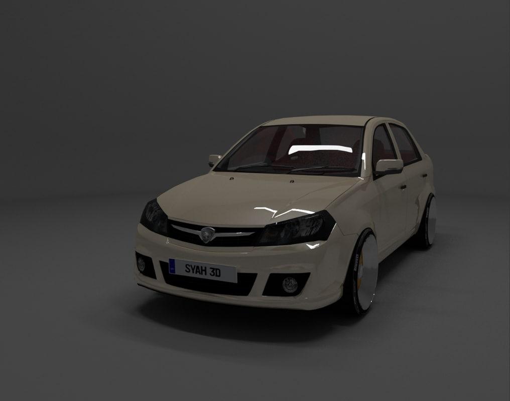proton saga flx sedan 3d model