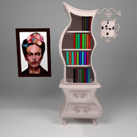 free cartoon bookshelf frida books 3d model