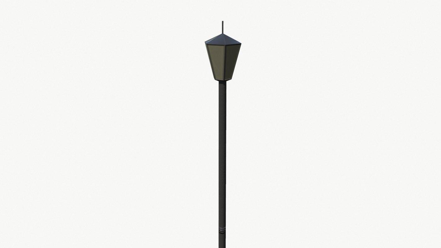 3d model low-poly park lamp pbr
