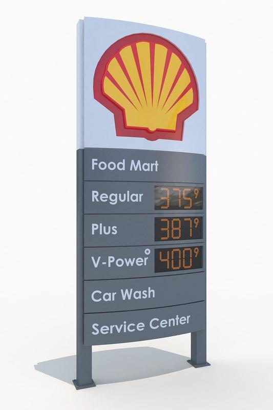 shell gas station totem 3d model