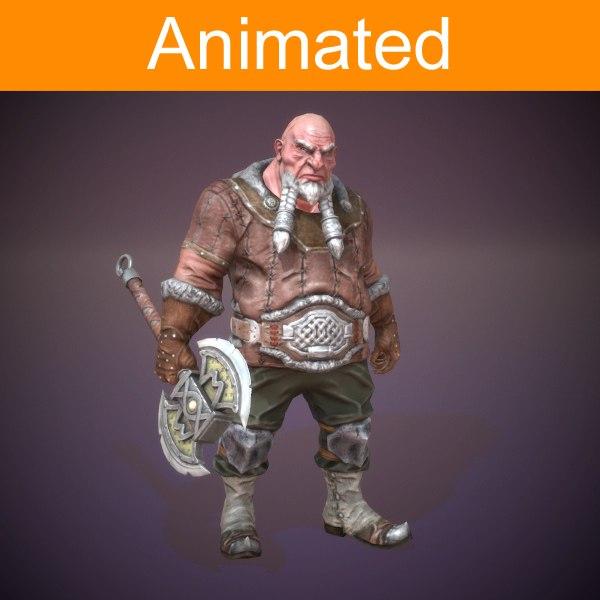 3d dwarf warrior model