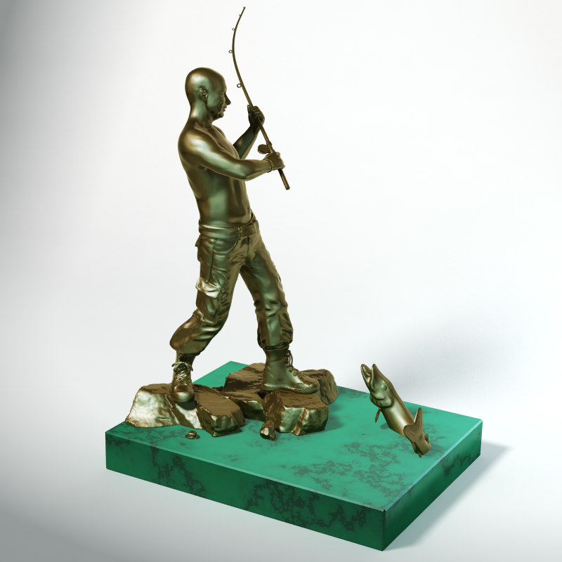 statuette putin fisherman 3d model