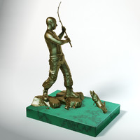 statuette putin fisherman 3d model