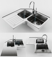 double bowl sink faucet 3d 3ds