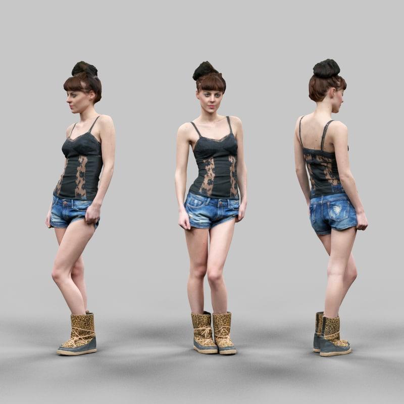 girl sexy jeans short 3d obj