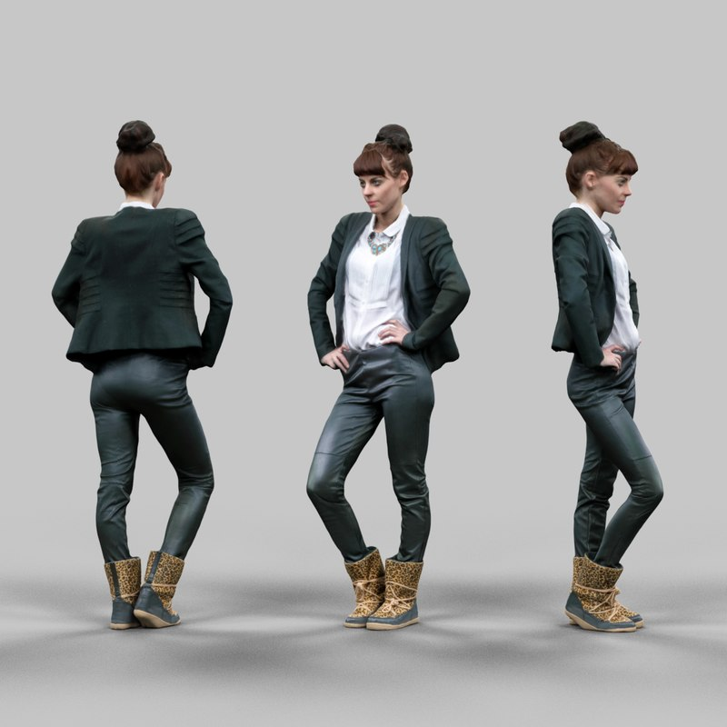 3d obj office girl posing leather pants