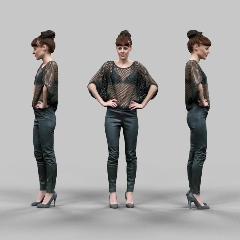 girl fishnet leather posed 3d model