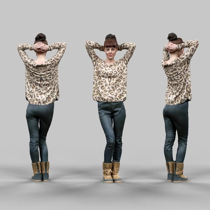 girl posing tigerprint clothing 3d obj