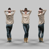 girl posing tigerprint clothing 3d obj