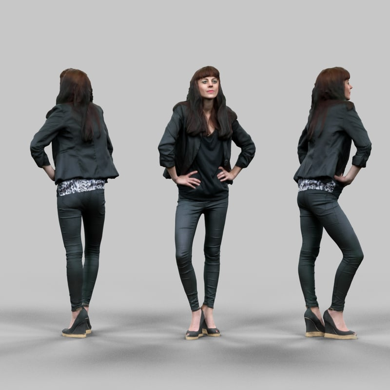 3d fashion girl black outfit