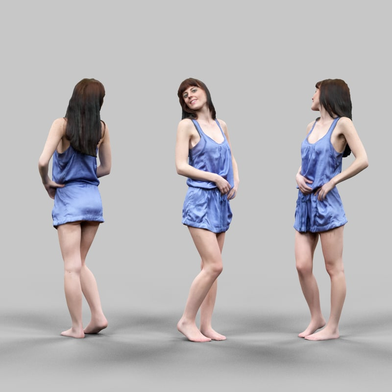 3d model girl blue shiny dress