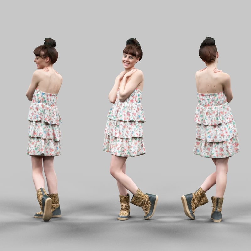 3d model cute girl tigerboots flower