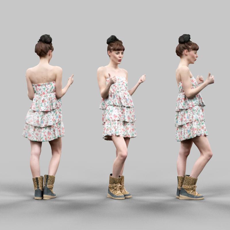 thumbs girl flower pattern 3d model