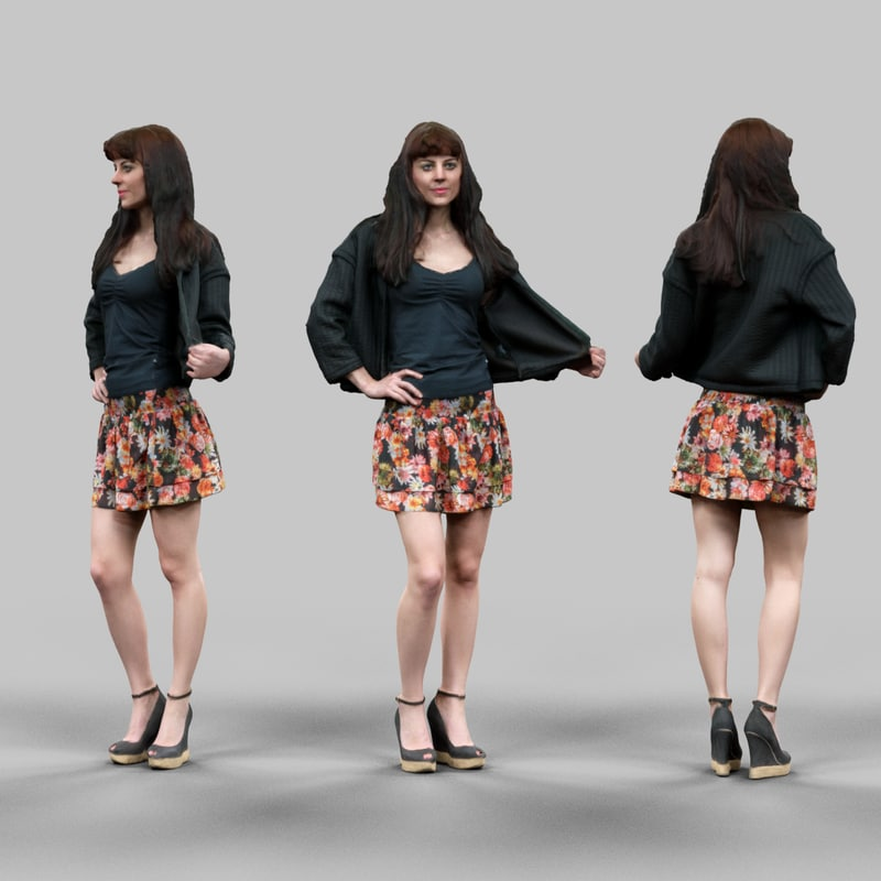 girl skirt holding jacket 3d model