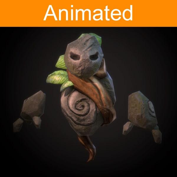 character flying golem 3d model
