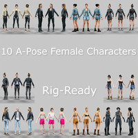 3d model 10 rig ready a-pose