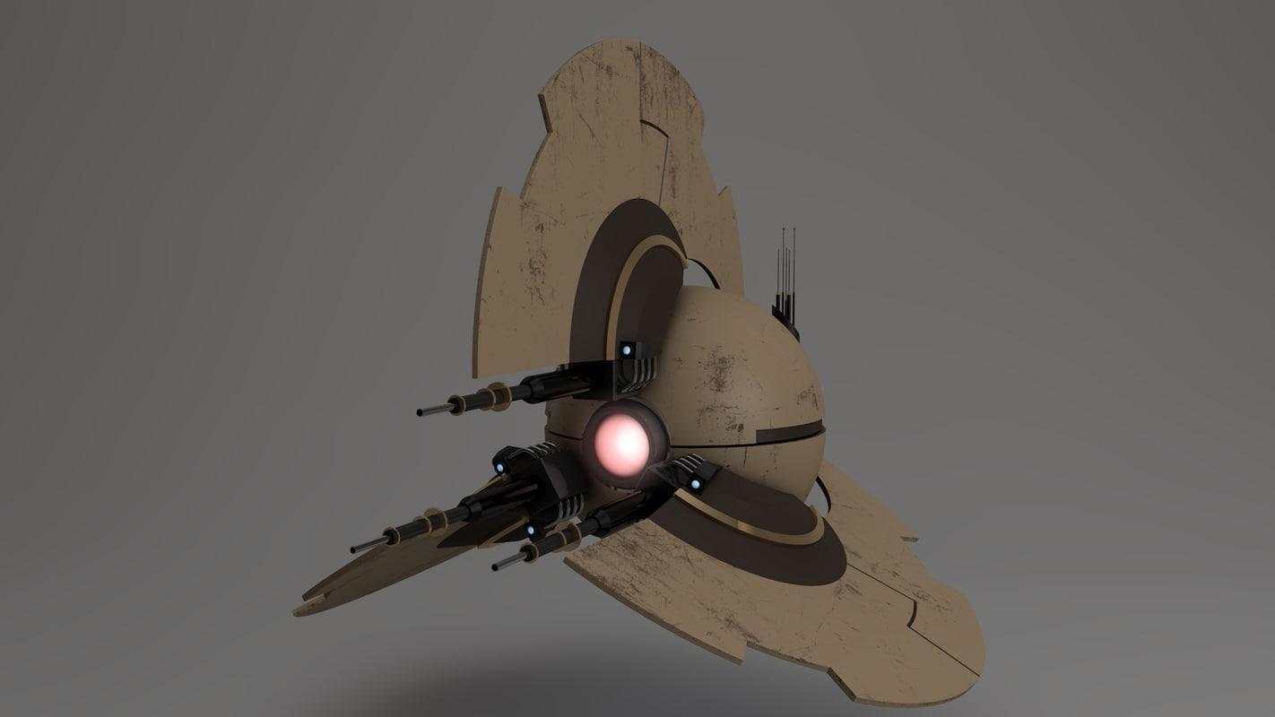 sci-fi drone 3d c4d